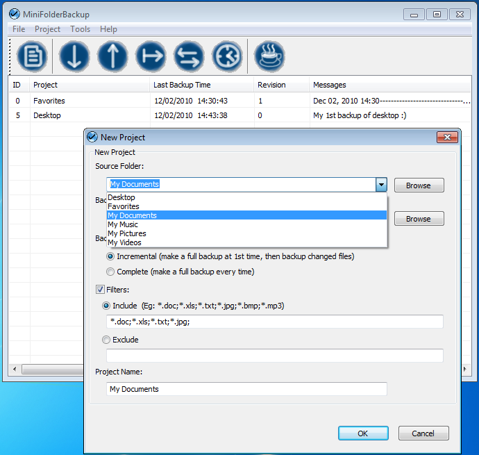 Click to view NorthBright MiniFolderBackup 1.0.1.721 screenshot